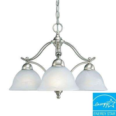 Avalon Collection 3-Light Brushed Nickel Chandelier with Alabaster Glass