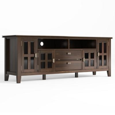 Artisan Solid Wood 72 in. Wide Contemporary TV Media Stand in Tobacco Brown For TVs up to 80 in.