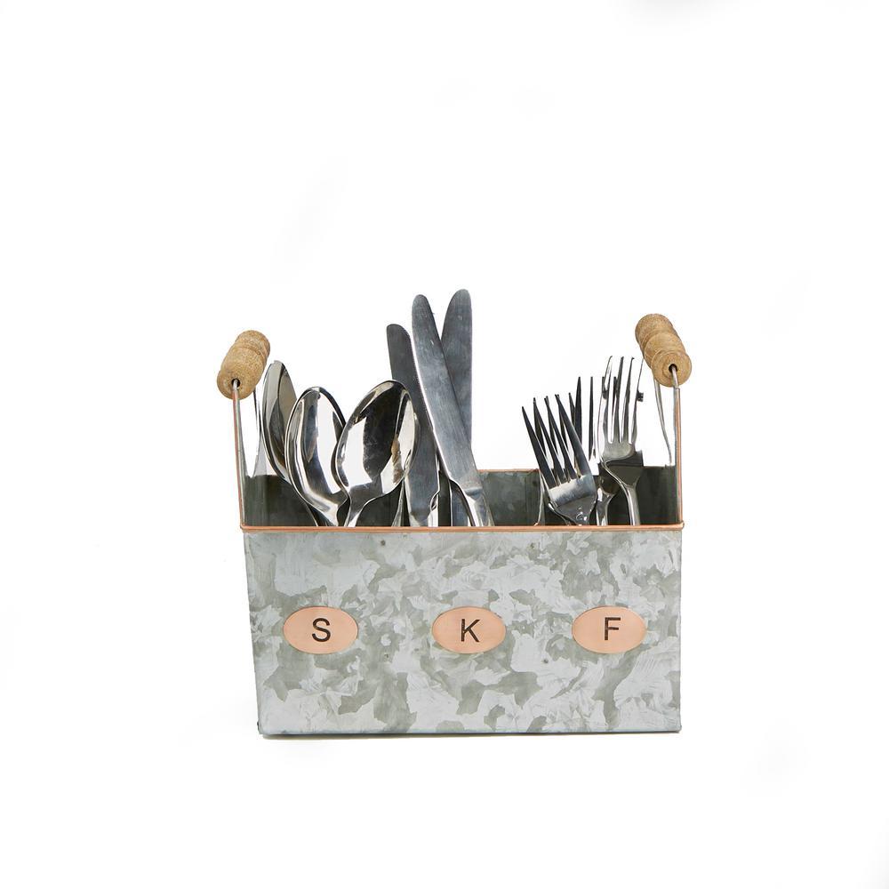Silver Galvanized Utensils Caddy Kitchen Condiment Organizer