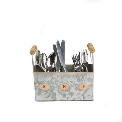 Silver Galvanized Utensils Caddy Kitchen Condiment Organizer