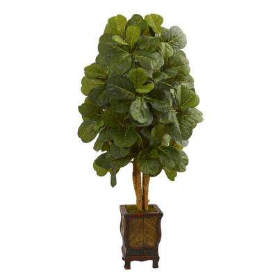 4.5 ft. High Indoor Fiddle Leaf Artificial Tree in Decorative Planter