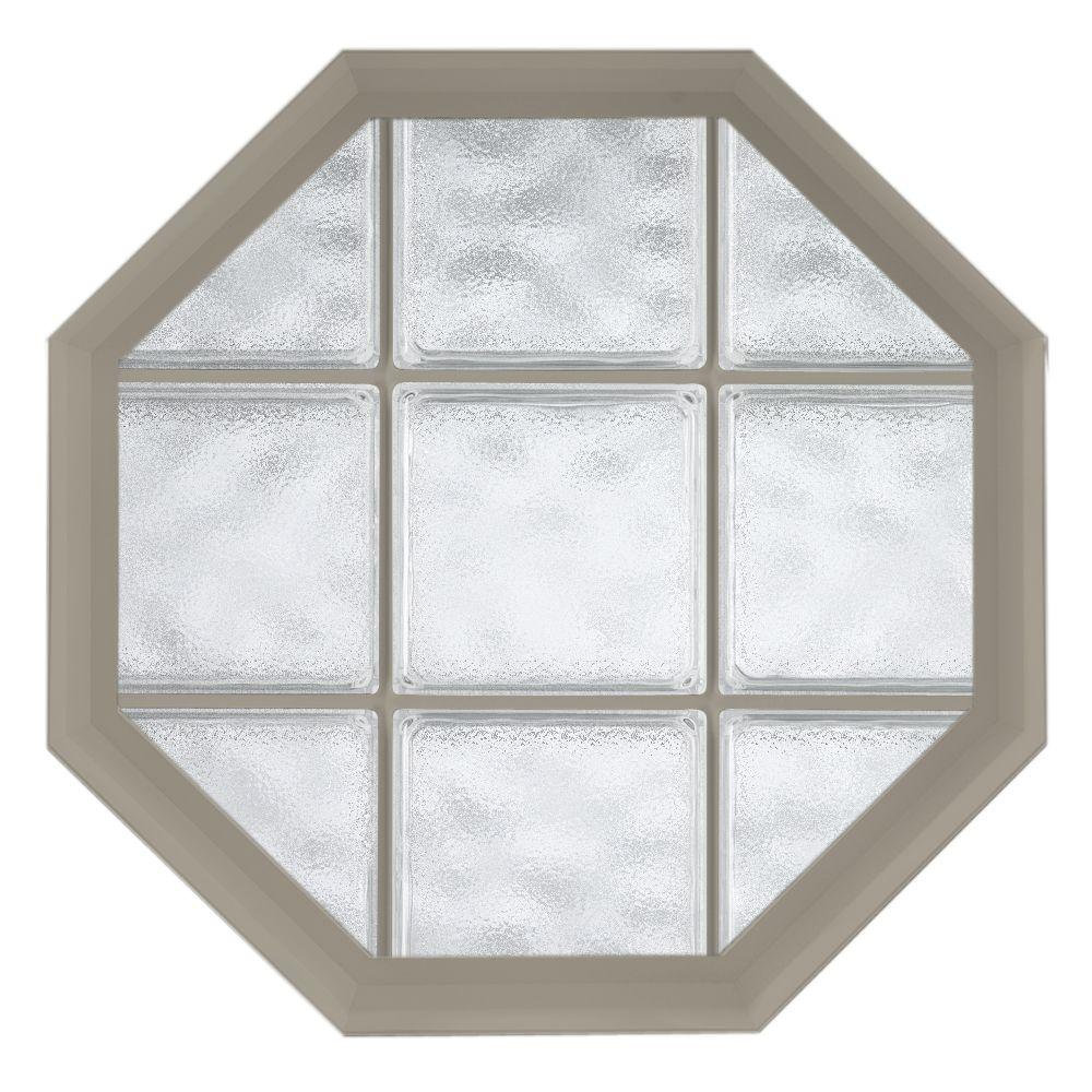 Hy-Lite 26 in. x 26 in. Acryilc Block Fixed Octagon Vinyl Window - Driftwood