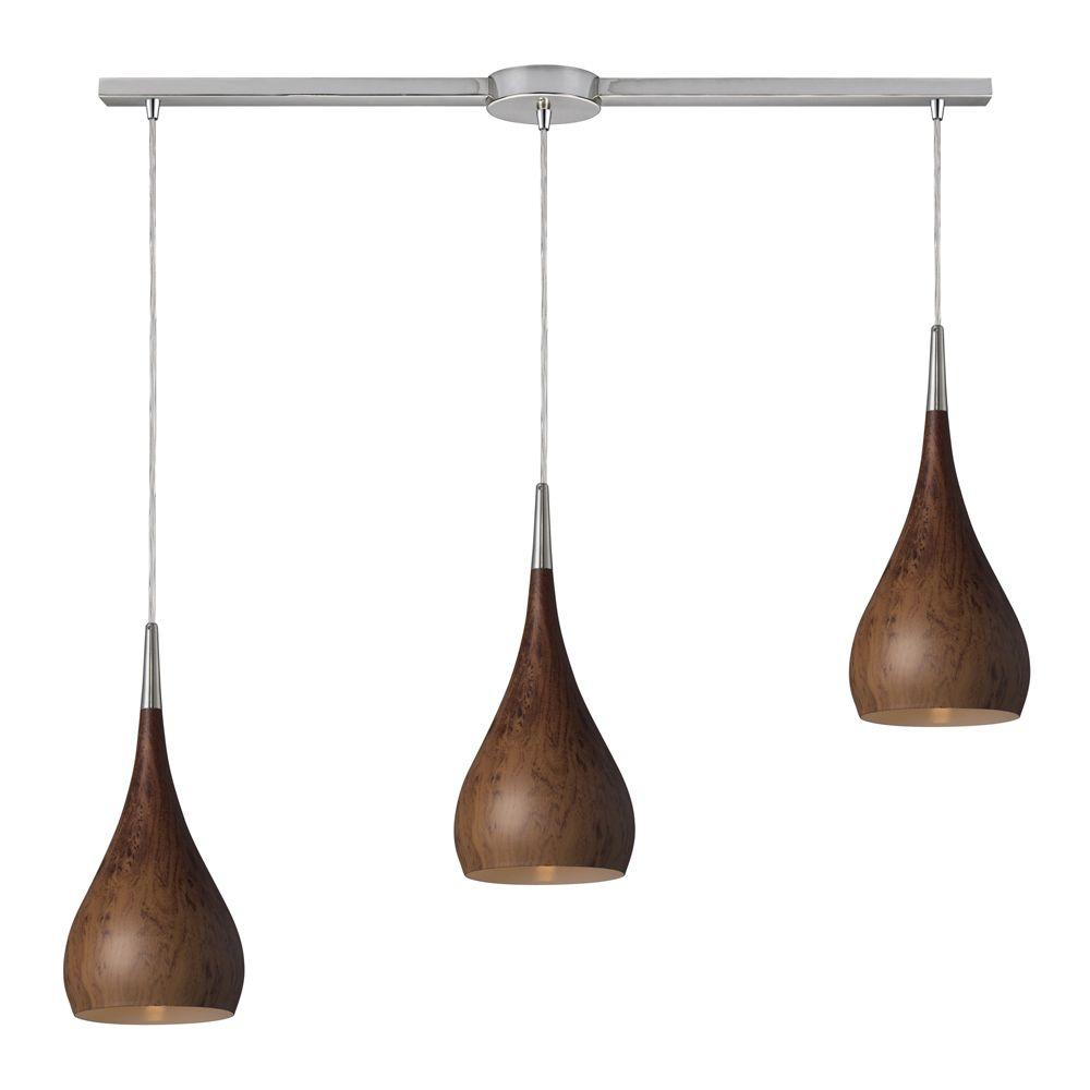 Lindsey 3-Light Burl Wood and Satin Nickel Ceiling Pendant