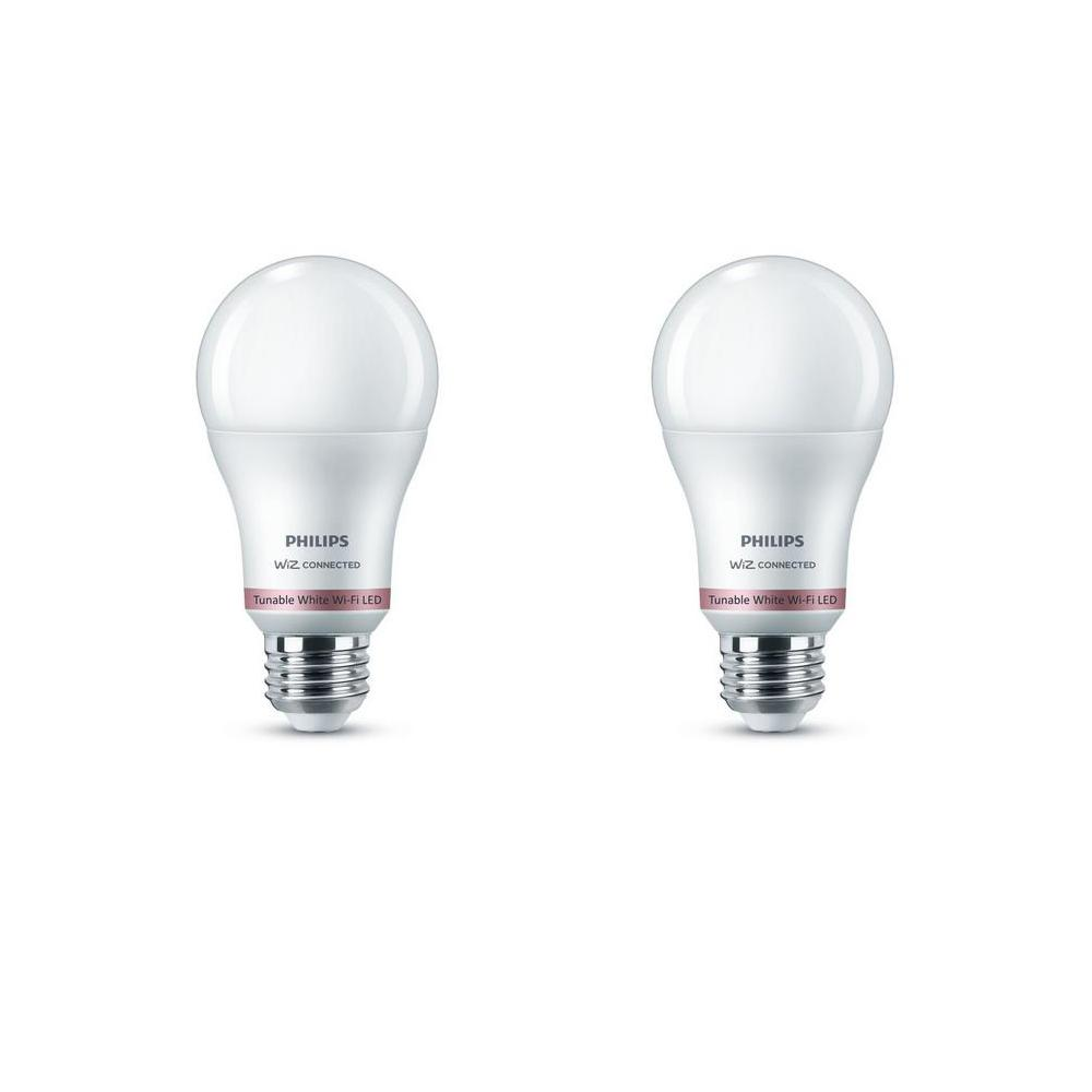 Philips Tunable White A19 LED 60-Watt Equivalent Dimmable Smart Wi-Fi Wiz Connected Wireless Light Bulb (2-Pack)