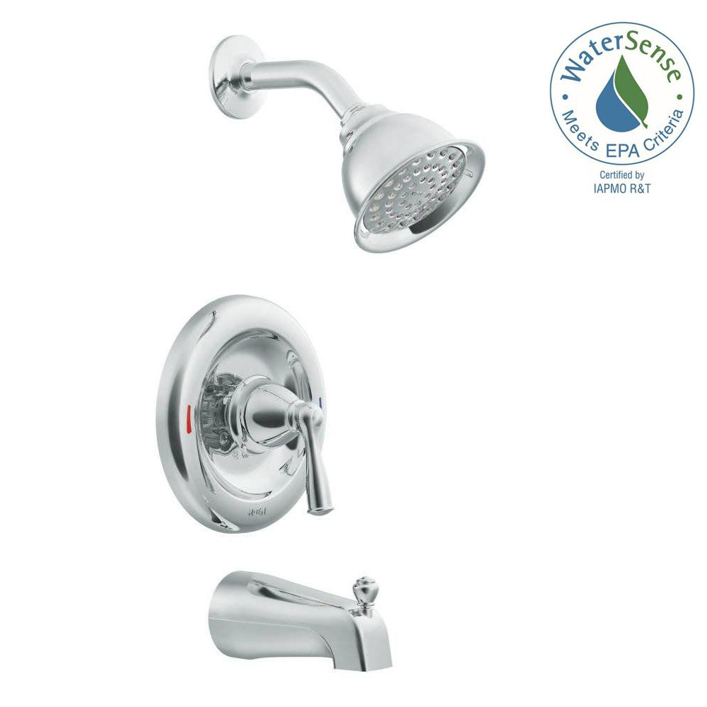 one piece shower faucet. Delta Foundations Single Handle 1 Spray Tub and Shower Faucet in Chrome  Valve Included B114900 The Home Depot
