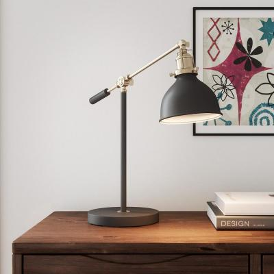 19.75 in. Matte Black and Antique Brass Industrial Balance Desk Lamp with LED Bulb