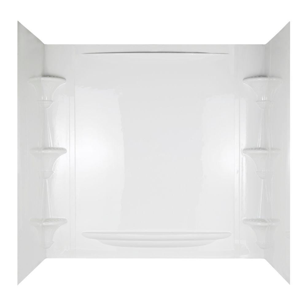 Vesuvia 32 In. X 60 In. X 58 In. 5 Piece Easy Up Adhesive Tub Wall In  White 39744 HD   The Home Depot