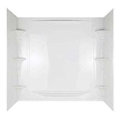 Vesuvia 32 in. x 60 in. x 58 in. 5-Piece Easy Up Adhesive Tub Wall in White