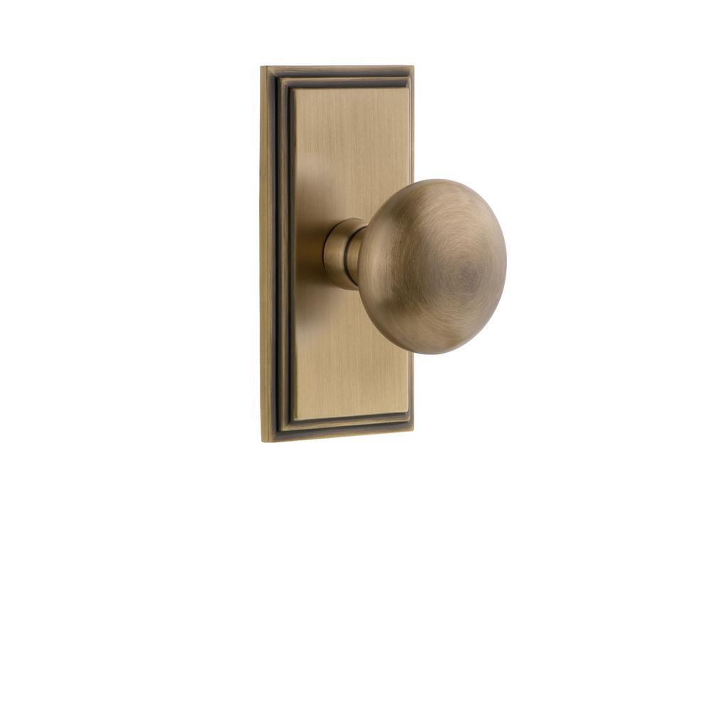Grandeur Carre Plate Dummy With Fifth Avenue Vintage Brass Door Knob