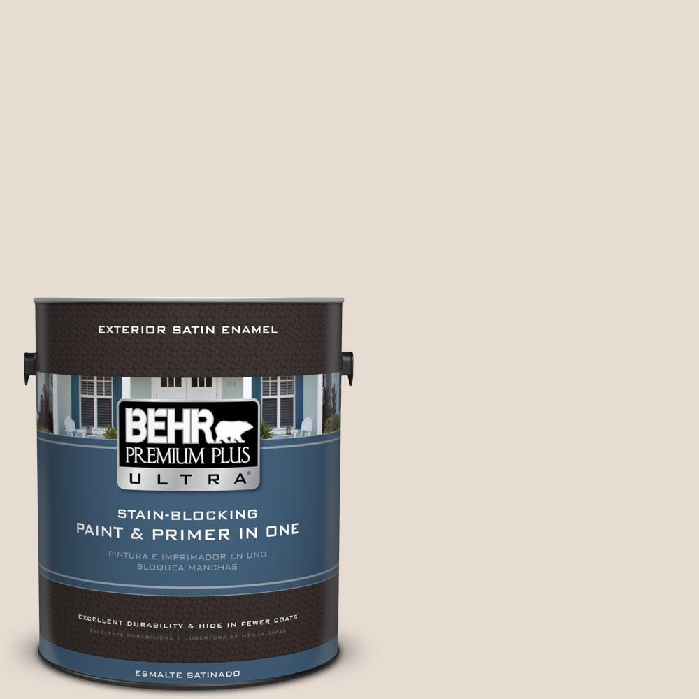 BEHR Premium Plus Ultra 1-gal. #ICC-11 Designer White Satin Enamel Exterior Paint
