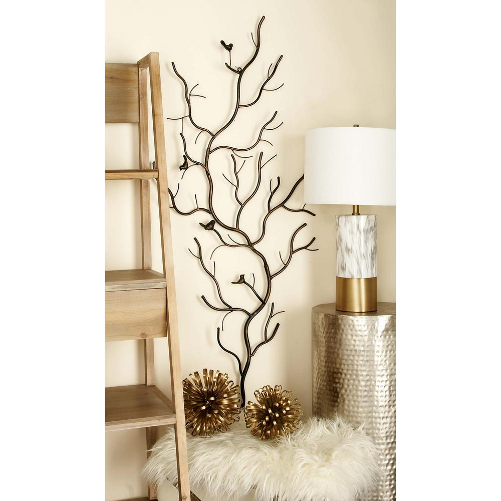 Rustic Gray Iron Branches And Birds Wall Decor-58558