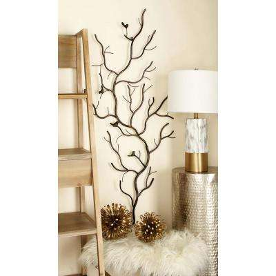 Rustic Gray Iron Branches and Birds Wall Decor