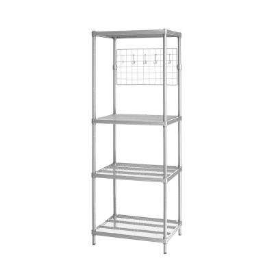 MeshWorks 4-Shelf Metal Silver Freestanding Utility Grid Unit