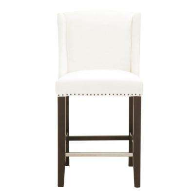 Ryden 26 in. Pure White Fabric, Espresso Counter Stool