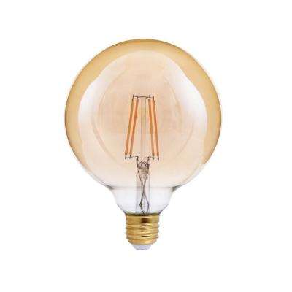 40-Watt Equivalent G40 Globe Dimmable Amber Glass Filament LED Light Bulb Amber 2200K