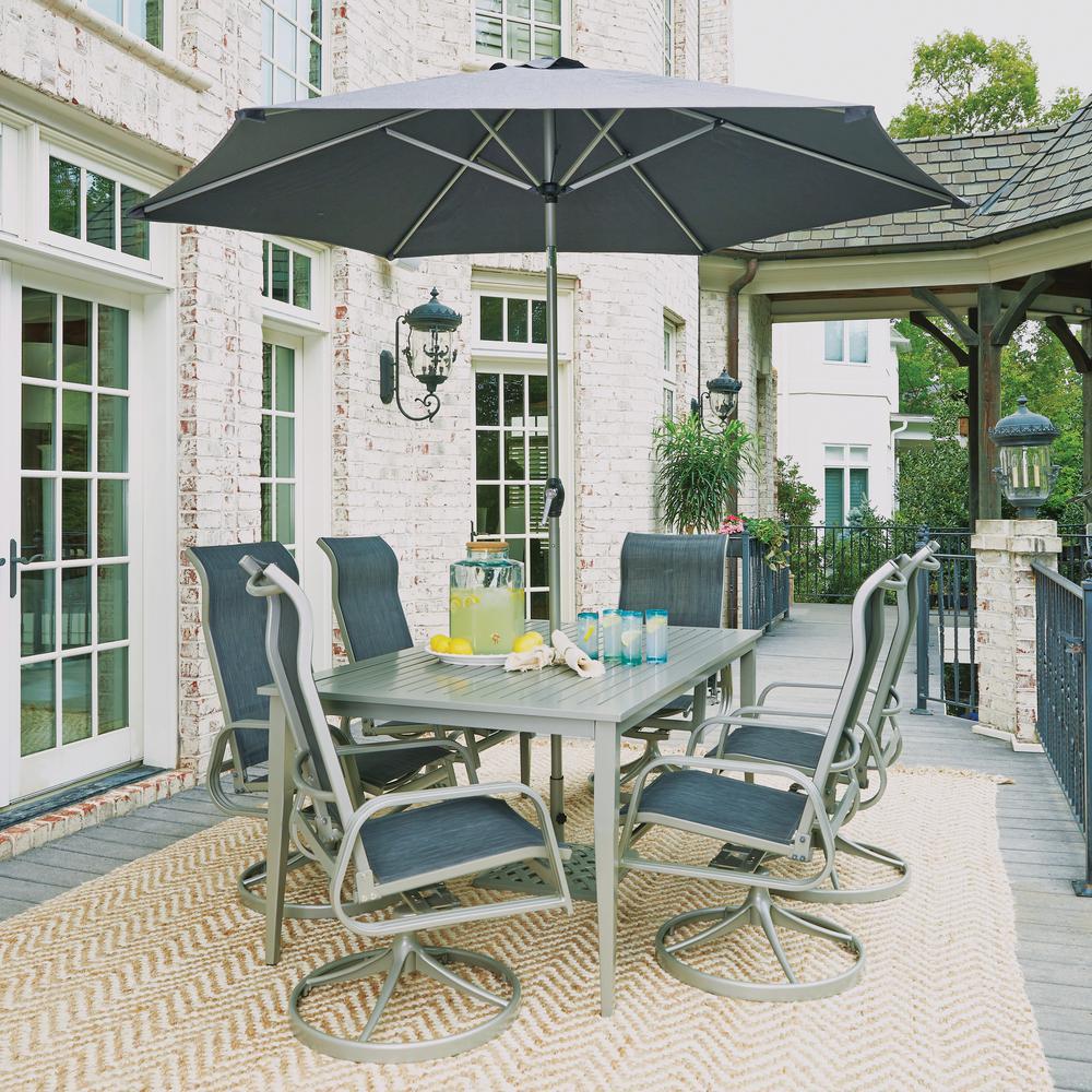South Beach Gray 9-Piece Aluminum Rectangular Outdoor Dining Set
