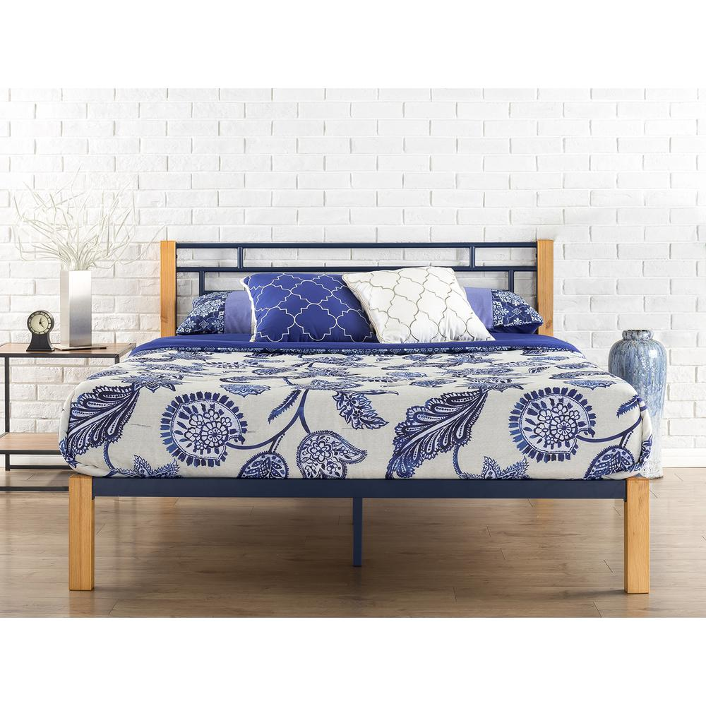 Zinus Epic Metal and Wood Blue Full Platform Bed Frame-HD-HBPBE-14F ...
