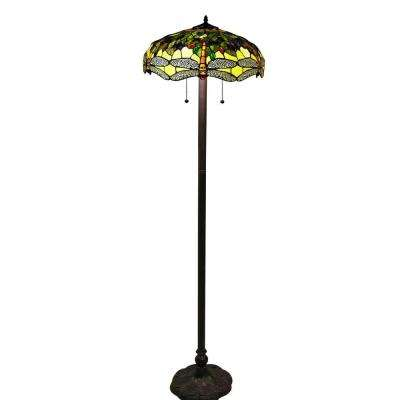 Tiffany-Style 61 in. Bronze Indoor Floor Lamp with Verde Dragonfly Shade