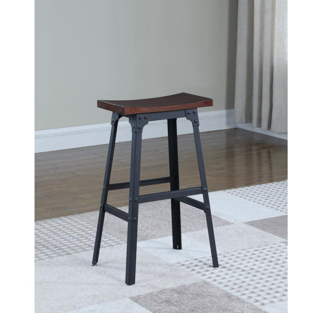 Matte black industrial style backless bar stool
