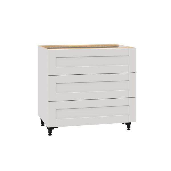 Reviews For J Collection Shaker Assembled 36x34 5x24 In 3 Drawer Base Cabinet With 10 In Metal Drawer Boxes In Vanilla White B3da36 Ws The Home Depot