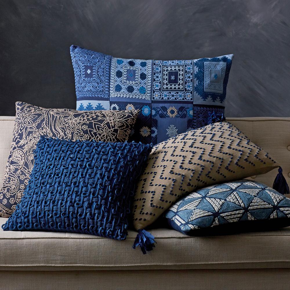 Embroidered Decorative Pillow Cover In Blue Chevron 16 X 24