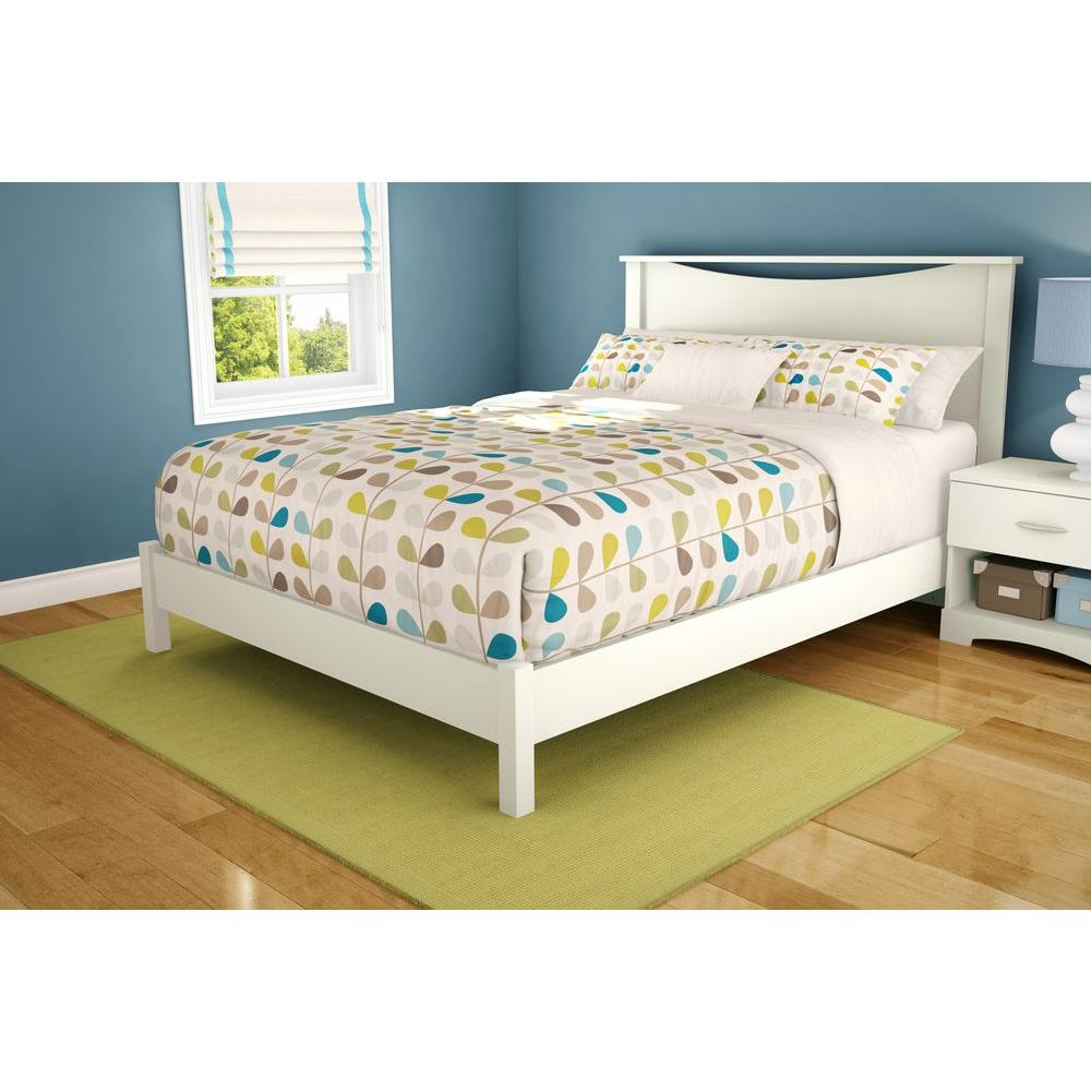 South Shore Step One QueenSize Platform Bed in Pure White3050203