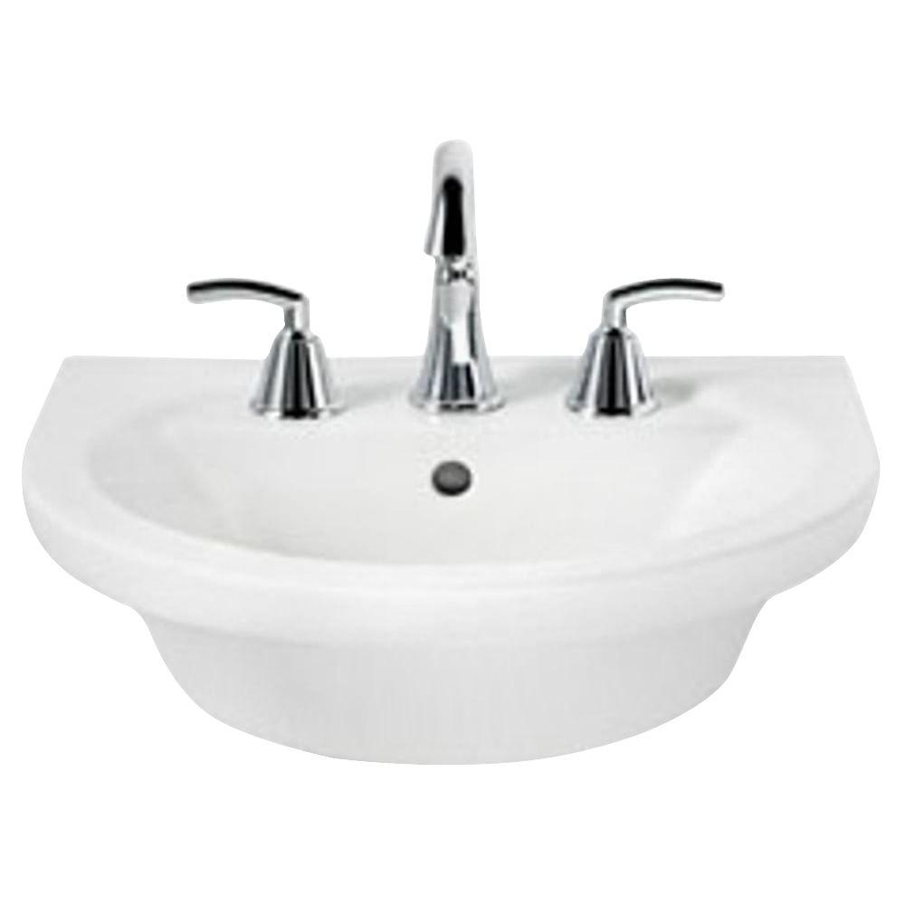Tropic Petite 21 in. Center Pedestal Sink Basin with 8 in.