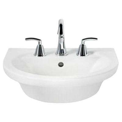 Tropic Petite 21 in. Center Pedestal Sink Basin with 8 in. Faucet Centers in White