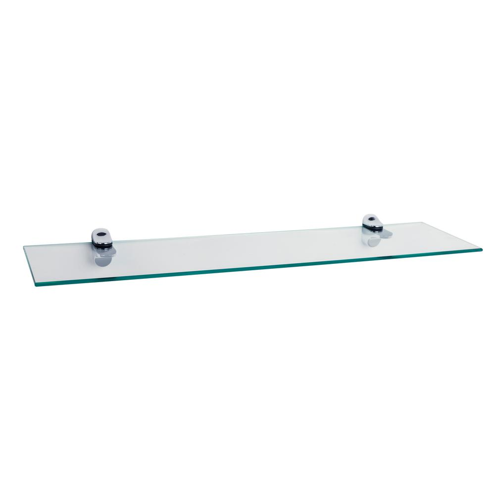 danya b pristine 24 in w x 6 in d clear glass floating shelf with chrome brackets wl6015c. Black Bedroom Furniture Sets. Home Design Ideas