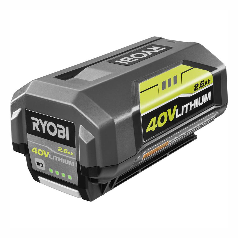 Lithium Ion Battery >> Ryobi 40 Volt Lithium Ion 2 6ah Battery Op4026a The Home Depot