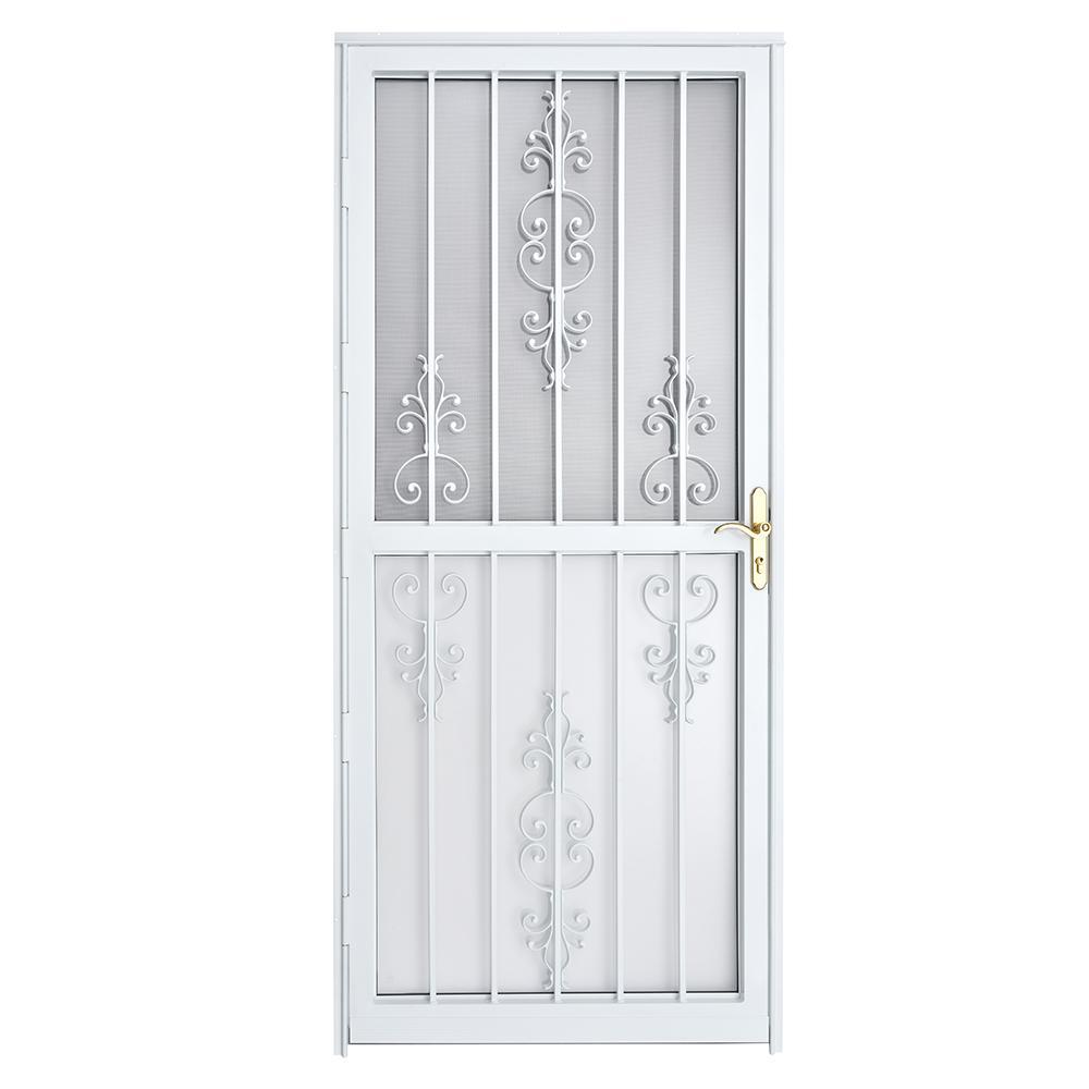 Grisham 36 in  x 80 in  309 Series White Prehung Heritage Steel Security  Door