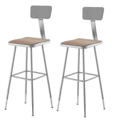 32 in. - 39 in. Height Grey Adjustable Heavy Duty Square Seat Steel Stool with Backrest (2-Pack)