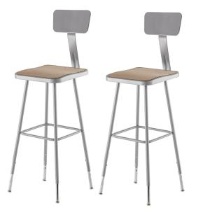 Strange 32 In To 39 In Height Adjustable Grey Heavy Duty Square Seat Steel Stool With Backrest 2 Pack Ncnpc Chair Design For Home Ncnpcorg