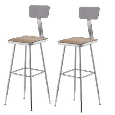 32 in. to 39 in. Height Adjustable Grey Heavy Duty Square Seat Steel Stool with Backrest (2-Pack)