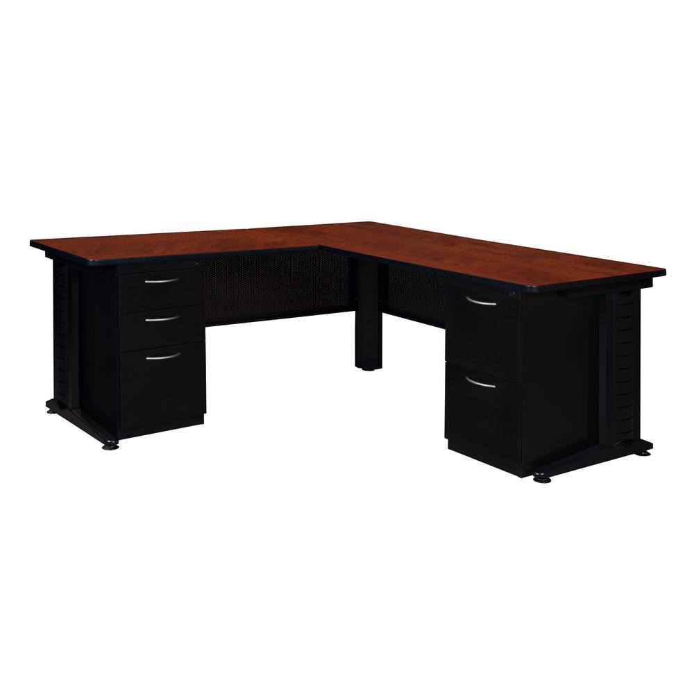 Double Pedestal L Desk With 48 In Return