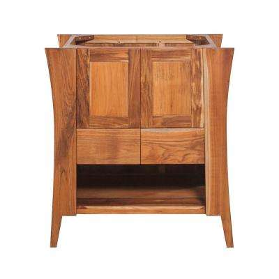 Curvature 30 in. L Teak Vanity Cabinet Only In Natural Teak