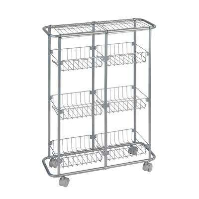 6-Shelf Powder-Coated Metal Wheeled Trolley