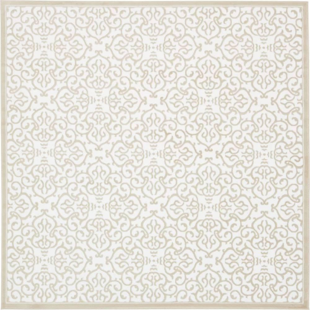 Unique Loom Himalaya Snow White 8 Ft X Square Area Rug