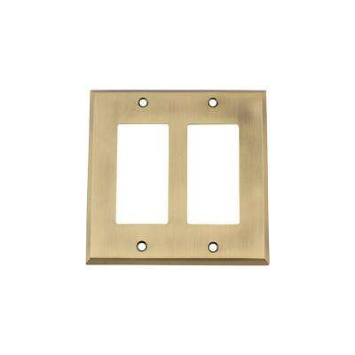 New York Switch Plate with Double Rocker in Antique Brass