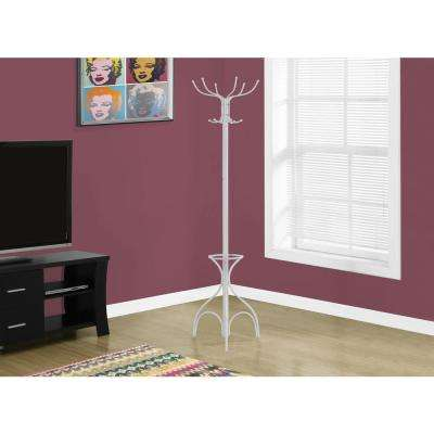 White 10-Hook Coat Rack
