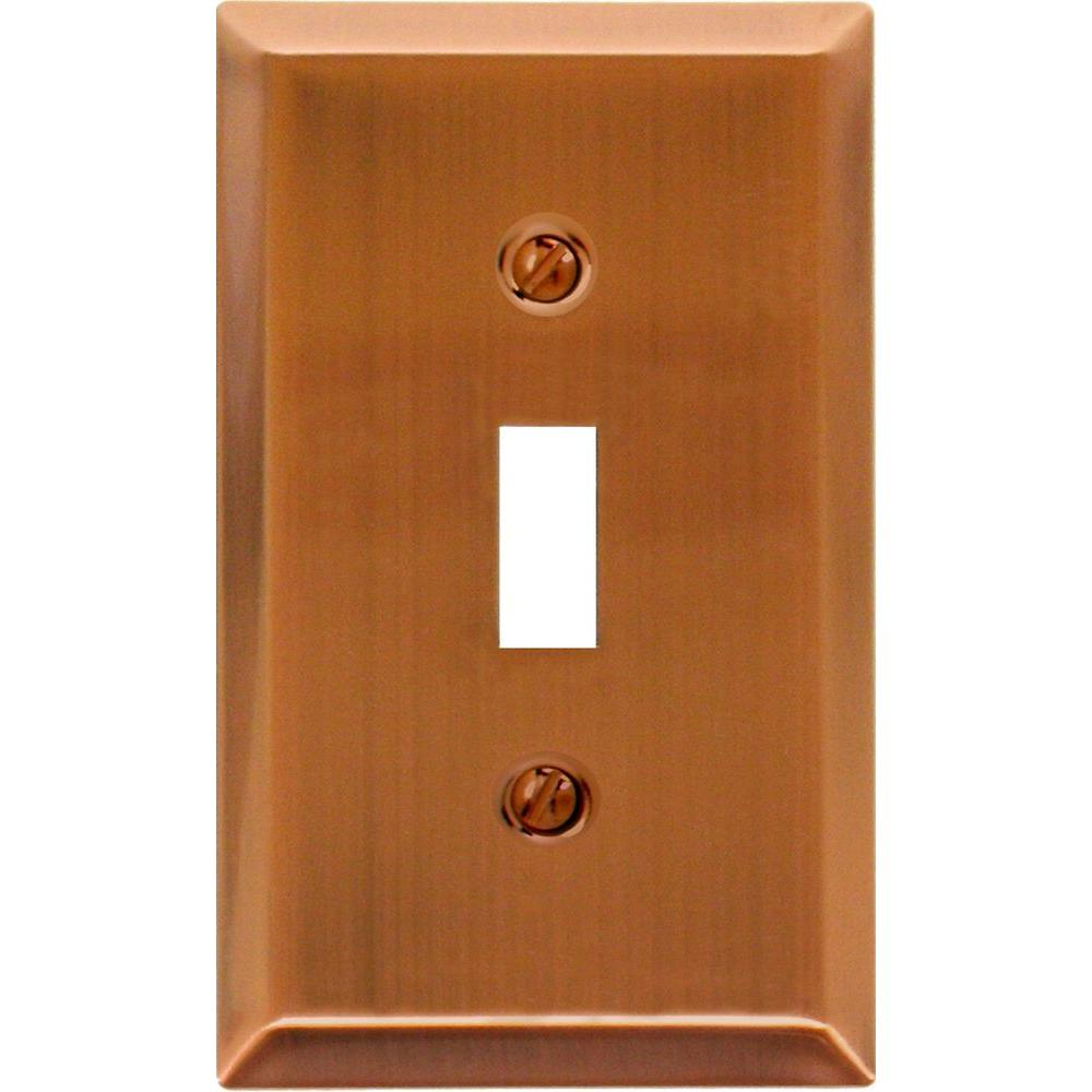 Amerelle Century Steel 1 Toggle Wall Plate - Antique Copper
