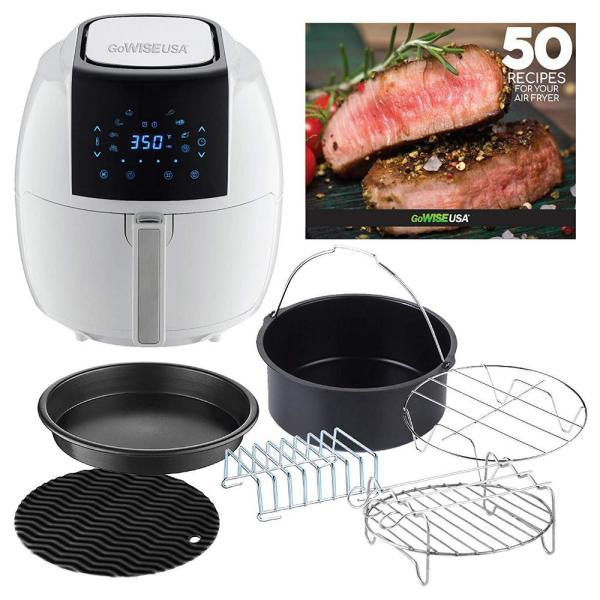 8-in-1 5.8 Qt. White Air Fryer with 6-Piece Accessory Set and 50-Recipes Book