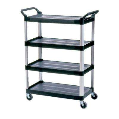 Open Sided Xtra 4-Shelf Cart in Black