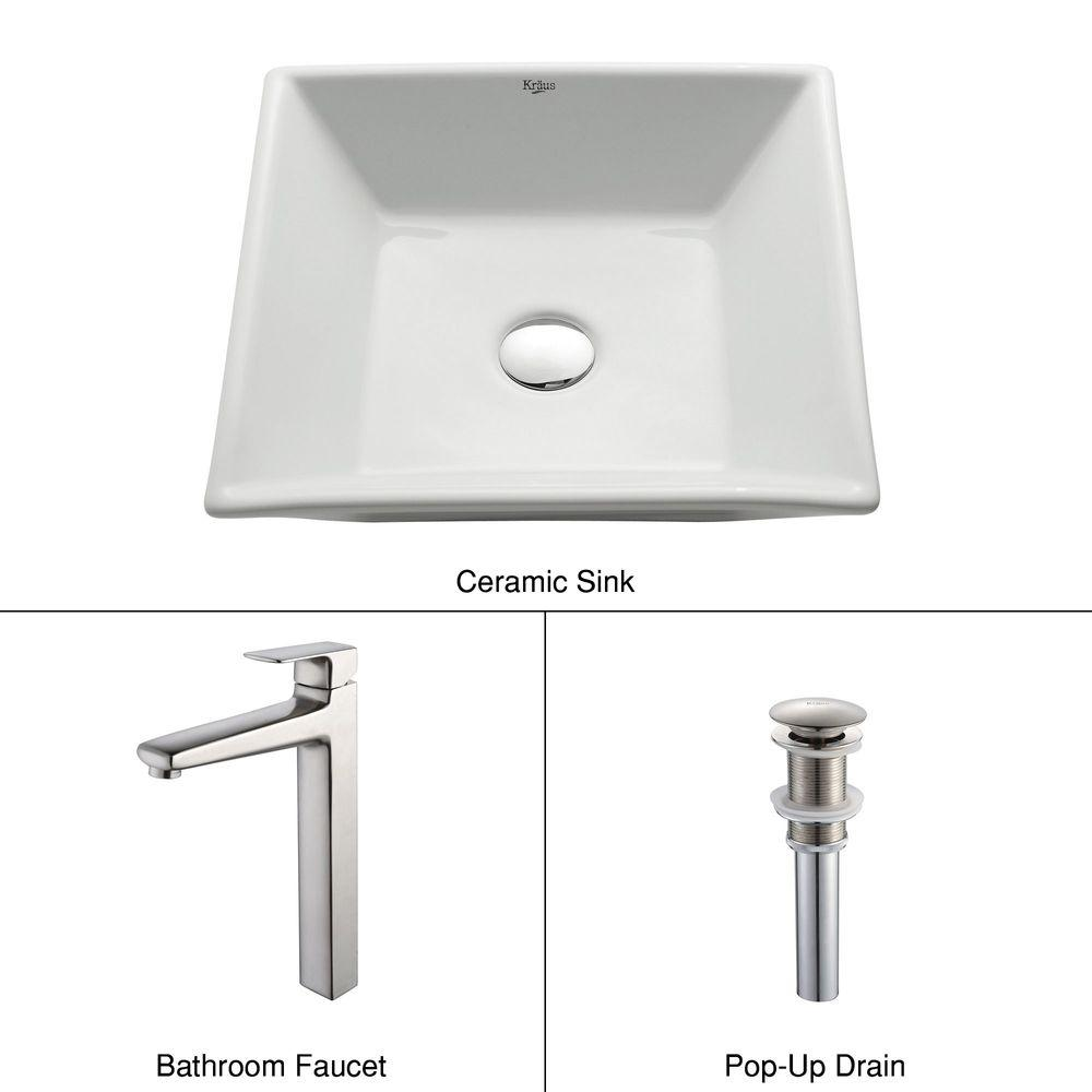 KRAUS Flat Square Ceramic Vessel Sink in White with Virtus Faucet in Brushed Nickel