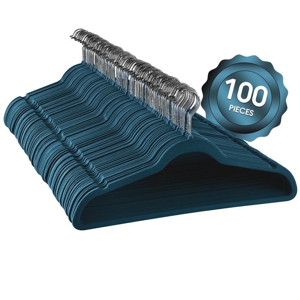 Velvet Slim Profile Heavy Duty Felt Blue Hangers with Stainless Steel Swivel Hooks (100-Pack)