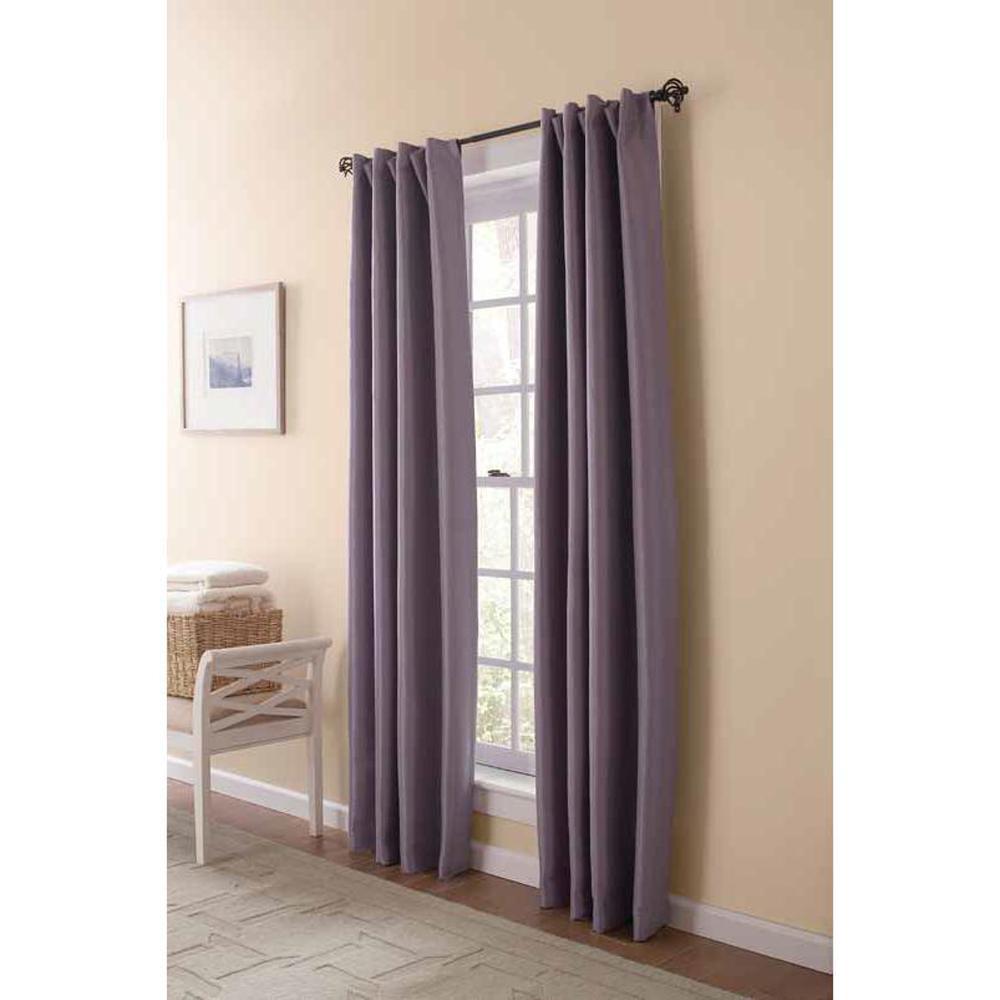 Martha Living Faux Silk Room Darkening Window Panel In Fig 54 W X 108 L 1617921 The Home Depot