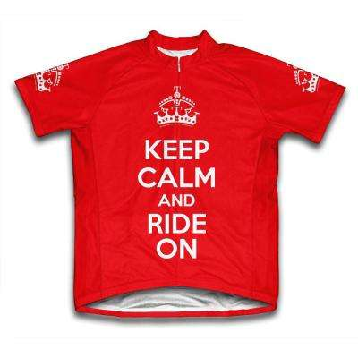 Unisex X-Large Red Keep Calm and Ride on Microfiber Short-Sleeved Jersey