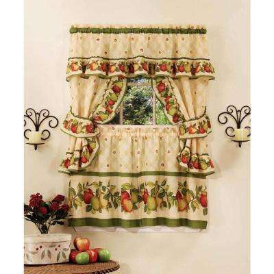 Semi-Opaque Apple Orchard Polyester 57 in. W x 24 in. L Printed Cottage Set (3 Piece Set)