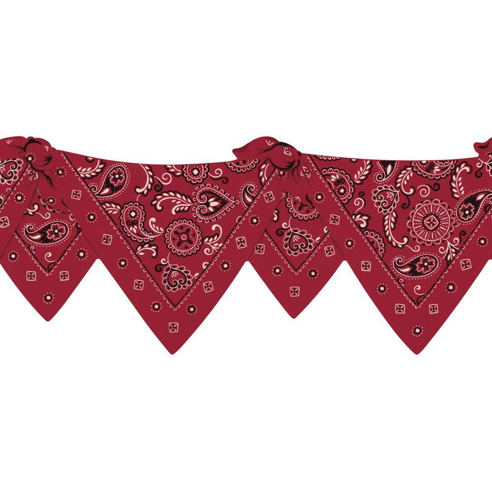 The Wallpaper Company 8 in. x 10 in. Red Die-Cut Bandana Border Sample-DISCONTINUED