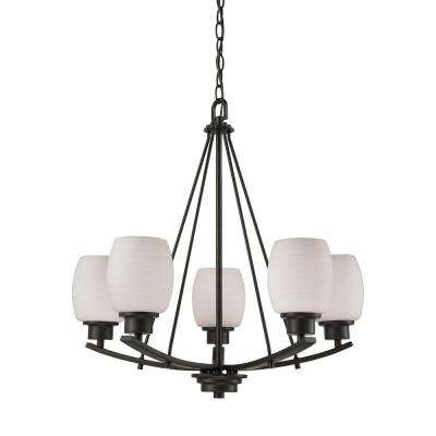 Casual Mission 5-Light Oil Rubbed Bronze Chandelier With White Lined Glass Shades